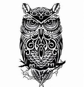 Black-And-White-Owl-Totem-Printed-Tattoo-Sticker ...