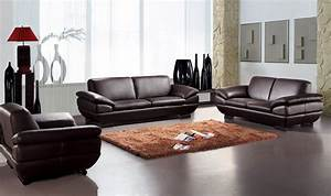 contemporary three piece sofa set in dark brown leather With contemporary sectional sofas atlanta ga