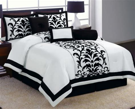 6 Pc White Black Luxury Flocking Comforter Set Full Size New Love This One. Not Sure About Black Mountain Scene Shower Curtain Laura Curtains Dunelm Country Prairie Swag Word For Housing Bathroom Ideas Small Windows How To Make Pinch Pleat With Buckram J Queen New York Colette Hang French Doors