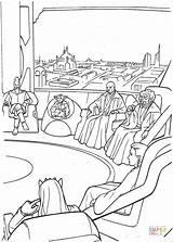 Jedi Kleurplaten Coloring Wars Star Coruscant Council sketch template