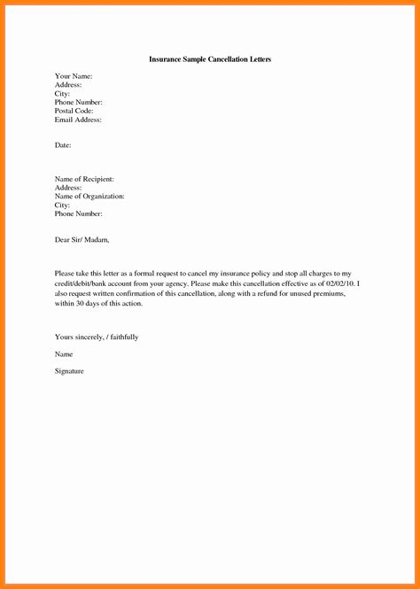 car insurance cancellation letter
