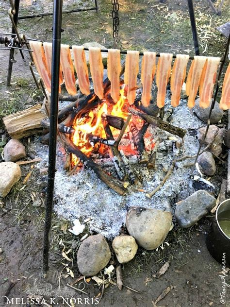 cooking iron cast oven fire tripod campfire outdoor dutch hang open grate bacon put skillets norris melissa primitive field things