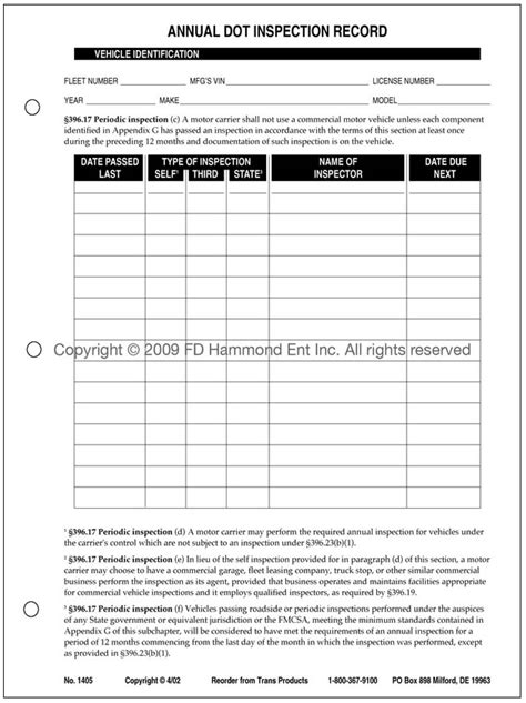 annual dot inspection record