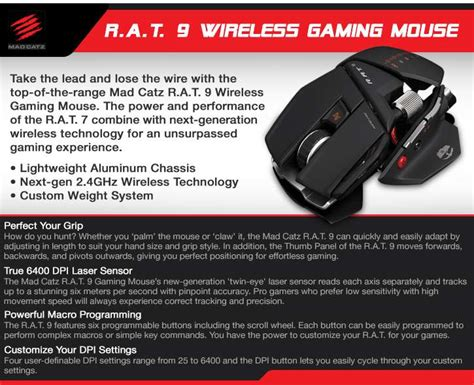 Mad Catz Rat 9 Wireless Gaming Mouse 6400 Dpi Laser