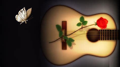beautiful guitar  butterfly  wallpapers hd