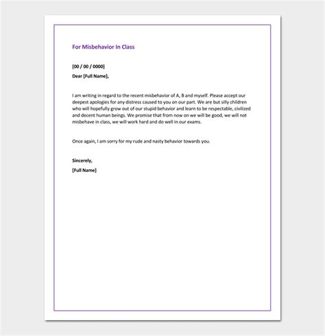 apology letter  principal  misbehaviour apology