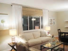 Living Room Windows with Blinds and Curtains