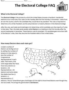 Electoral College 2016 (lesson Plan, Reader, Worksheet And Map