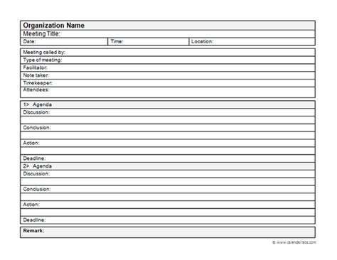 business meeting minutes template   printable