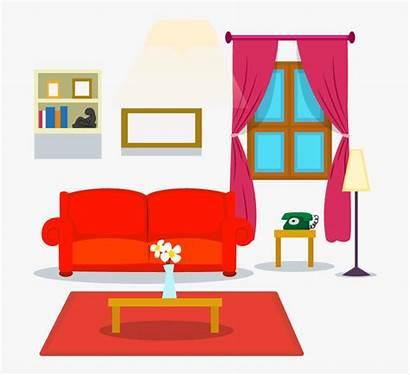 Living Cartoon Clipart Transparent Couch Interior Sofa