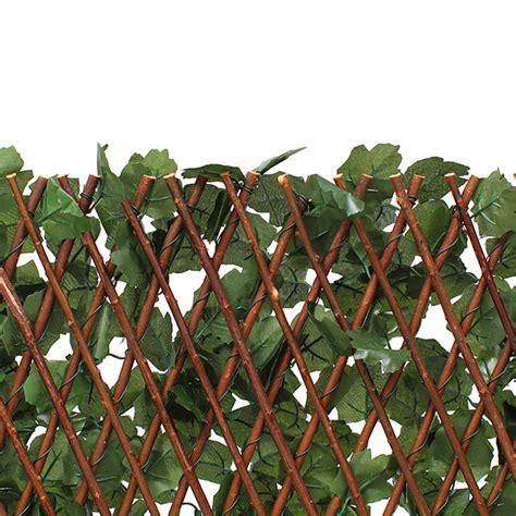 Treillis extensible en bois de saule feuillage artificiel lierre foncu00e9 - Maison Futu00e9e