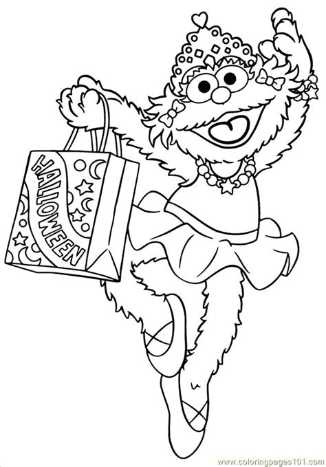 street zoe halloween coloring page  sesame street