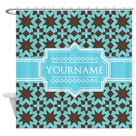 turquoise and brown shower curtain turquoise and brown pattern persona shower curtain by