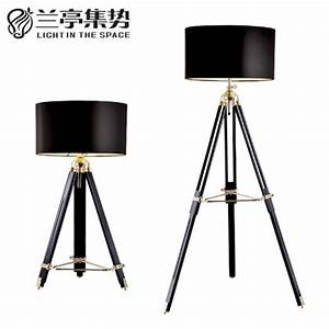 rh style american industrial retro wood floor lamp three With 4 legged wooden floor lamp