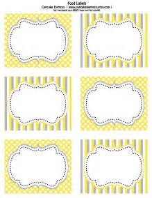 free printable yellow and grey food labels cupcake