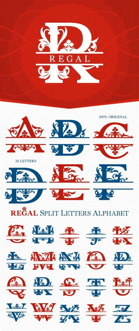 regal split monogram alphabet ready  cut svg  letitcut