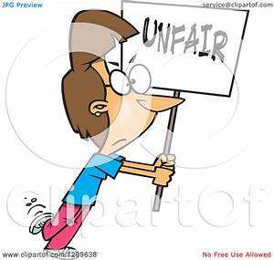 Cartoon of a Picketing Caucasian Woman Carrying an Unfair ...