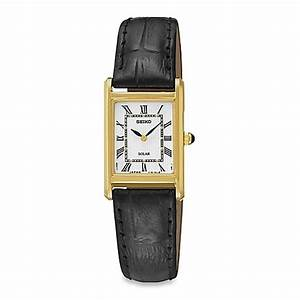 Seiko Ladies' Square Solar Watch in Goldtone Stainless