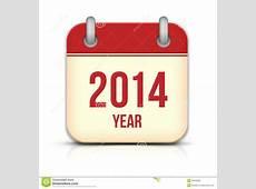 2014 Year Vector Calendar App Icon With Reflection Stock