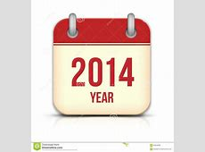 2014 Year Vector Calendar App Icon With Reflection Stock