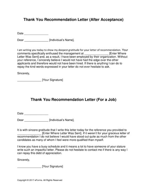 Thank You Letter Template Word by Free Thank You Letter For Recommendation Template With Sles Pdf Word Eforms Free