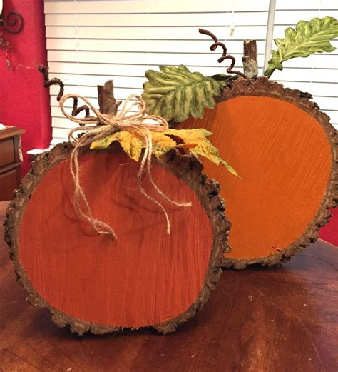 fall projects painted wood slice pumpkins woods craft and easy