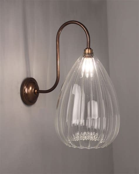 teardrop ribbed glass swan neck bathroom wall light