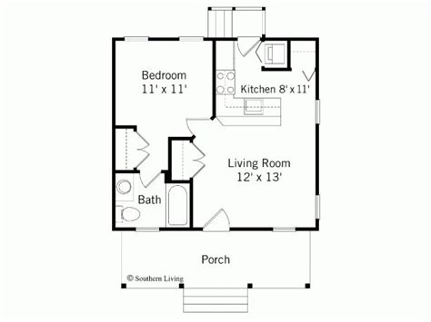 1 Bedroom House Floor Plans by Bungalow 1 Bedroom 1 Story Design For Southern Living