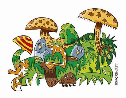 Nature Doodle Mushroom Grass Ramspott Frank Clipart