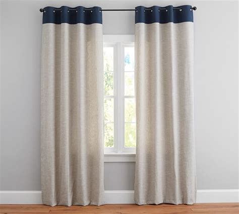 pottery barn curtains emery emery border linen drape pottery barn
