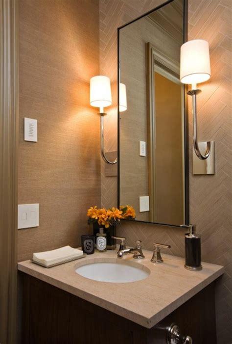 Powder Room With Tan Grasscloth Design Ideas