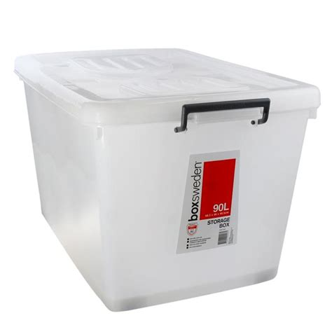 plastic storage tub 5 x 90l heavy duty large plastic storage boxes with lid