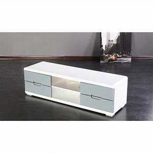 Meuble Gris Et Blanc : meuble tv gris et blanc achat vente meuble tv meuble tv gris et blanc cdiscount ~ Teatrodelosmanantiales.com Idées de Décoration