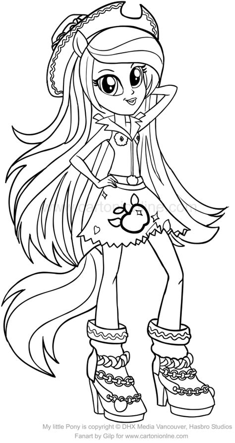 dibujo de applejack equestria girls de las
