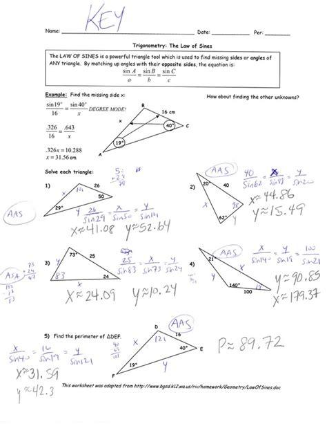 8 5 law of sines form g answer key printables law of sines worksheet lemonlilyfestival