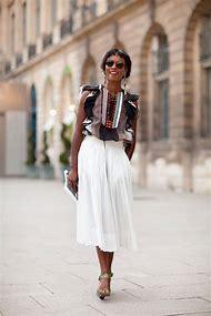 White Midi Skirt Street-Style