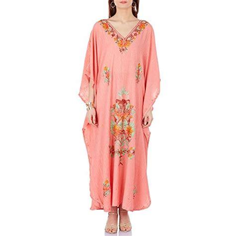 indian embroidered peach kaftan dress handmade kaftans