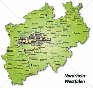 Nord Rhein Westfalen : karte von nordrhein westfalen als bersichtskarte in lizenzfreies bild 10636847 ~ Buech-reservation.com Haus und Dekorationen