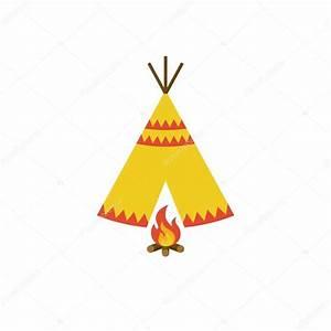 Zelt Der Indianer : tipi zelt der indianer und lagerfeuer mit brennholz icon illustration vektor flaches design ~ Watch28wear.com Haus und Dekorationen