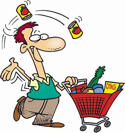 Clipart Cartoon Shopping Clip Paying Library Groceries