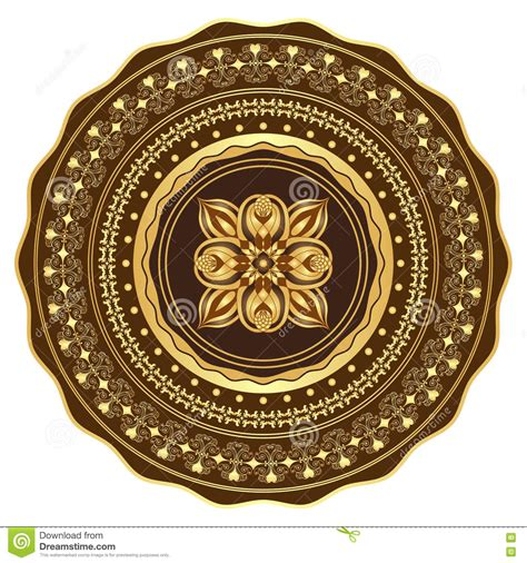 Gold And Brown Round Frame Vector Illustration