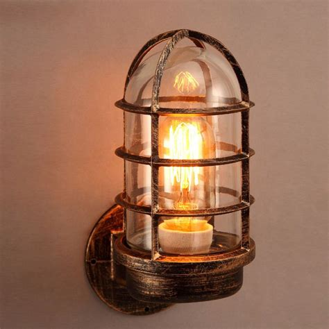 industrial rust metal cage 1 light wall l with clear