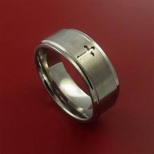 Titanium christian wedding band cross ring made to any for Wedding ring christian