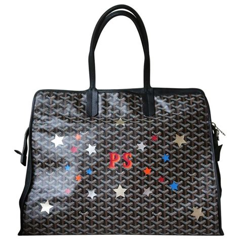 goyard personalised hardy gm canvas leather tote  dog bag  stdibs