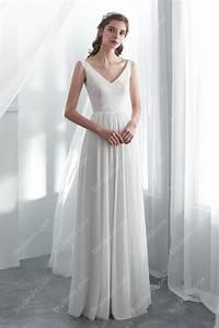 Simple Lace Draping Floor Length Wedding Dress Brydealo