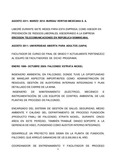 bureau veritas mexicana ing danny manuel alcántara marte curriculum