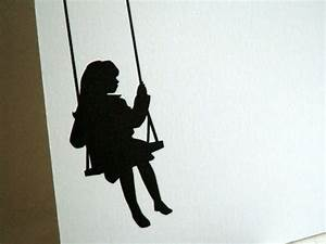 Swing Personalized Stationery - Little Girl Silhouette ...