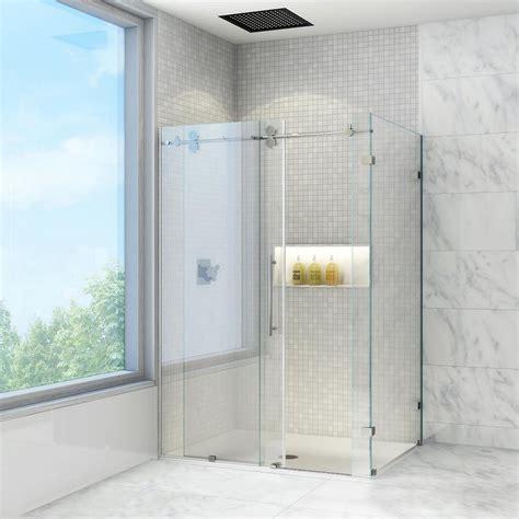 corner shower doors vigo winslow 46 5 in x 74 in frameless bypass shower