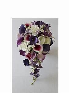 Cascade Wedding Calla Lily Bouquet Purple Bouquet Bridal ...