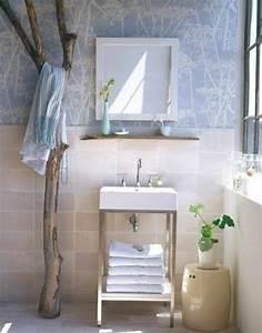 deco salle de bain bois flotte With salle de bain design avec bois flotté décoration murale